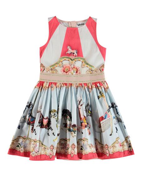 Molo Carli Carousel-Print Woven Dress, Size 2T-14
