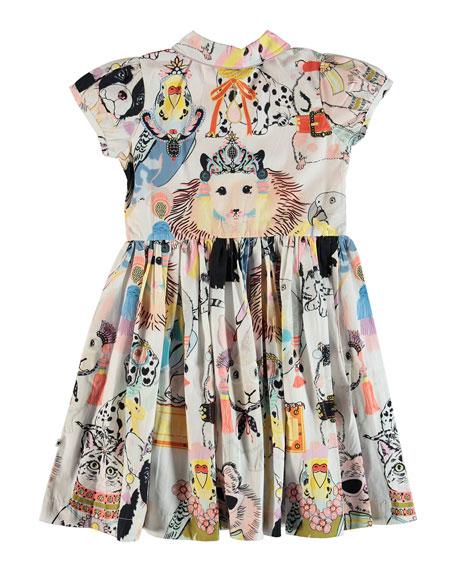 Molo Cybil Woven Animal Drawing Print Dress, Size 2T-12