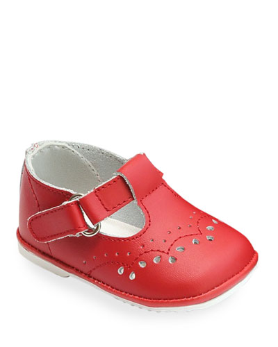 Birdie Leather T-Strap Brogue Mary Jane  Baby