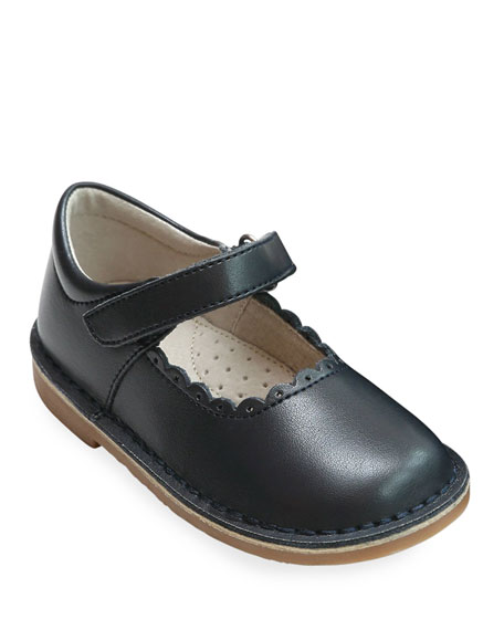 L'Amour Shoes Caitlin Scalloped Leather Mary Jane, Baby/Toddler/Kids