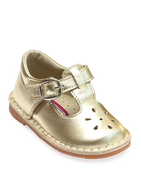 L'Amour Shoes Joy Metallic Leather Cutout T-Strap Mary Jane, Baby/Toddler/Kids