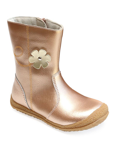 Madison Metallic Leather Flower Mid-Top Boot  Baby/Toddler/Kids