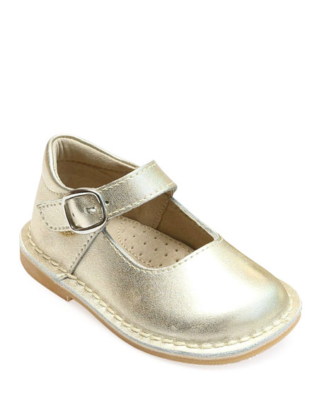 L'Amour Shoes Grace Metallic Leather Mary Jane Flats, Baby/Toddler