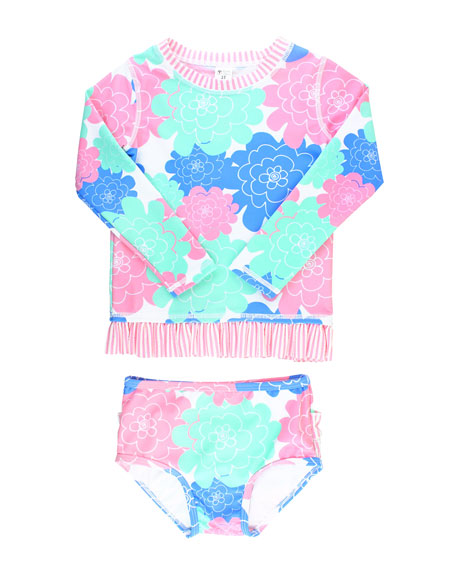 RuffleButts Petals & Seersucker 5-Piece Swim Layette Set, Size 3-24 Months