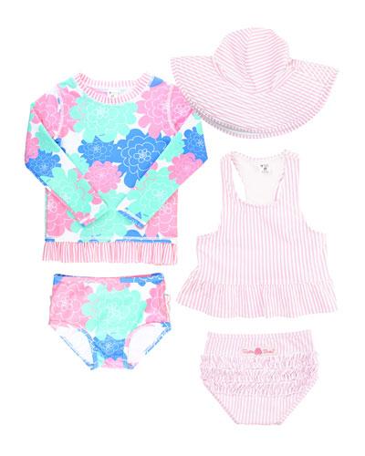 Petals & Seersucker 5-Piece Swim Layette Set  Size 3-24 Months