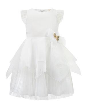 b9411082e2c0 David Charles Techno Dress w/ Handkerchief Peplum Skirt, Size 4-8
