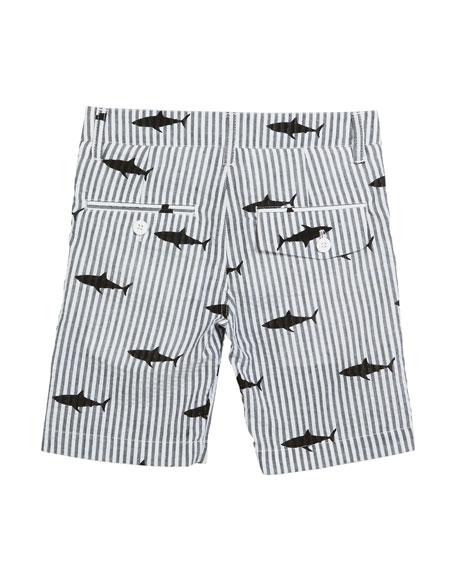 Appaman Striped Shark-Print Shorts, Size 2-14