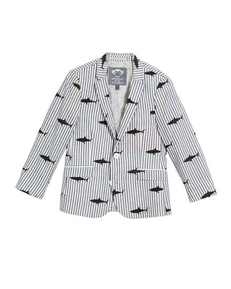 Appaman Striped Shark-Print Blazer, Size 2-14