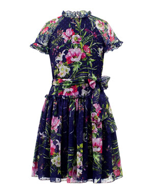 20c1547da David Charles Dot Floral Chiffon High-Neck Dress, Size 8-16
