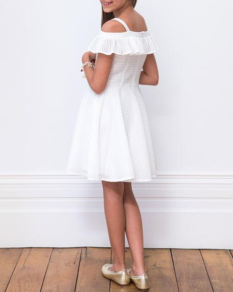 David Charles Stripe Techno Off-the-Shoulder Dress, Size 8-16
