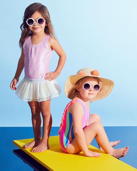 Shade Critters Chasing Rainbow Stripe Fringe-Back One-Piece Swimsuit, Size 2-6