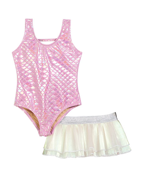 Shade Critters One-Piece Mermaid Swimsuit w/ Tutu Bottoms, Size 6-24 Months