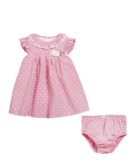Mayoral Swiss Dot Ruffle-Trim Dress w/ Matching Bloomers, Size 2-12 Months