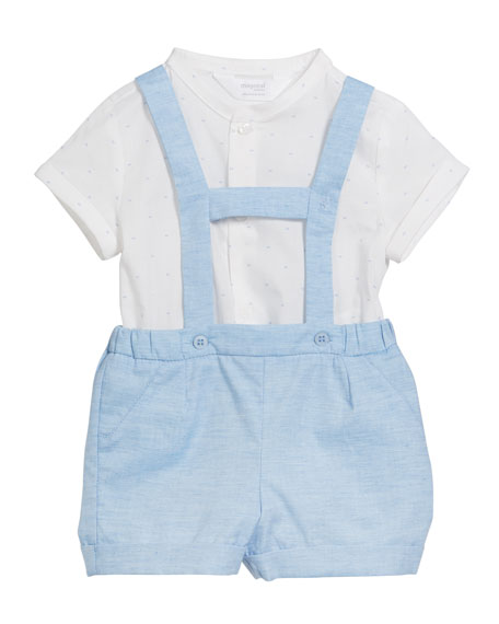 Mayoral Suspender Shorts w/ Short-Sleeve Top, Size 2-12 Months
