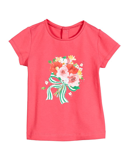 Mayoral Floral Bouquet Print Short-Sleeve Tee, Size 12-36 Months