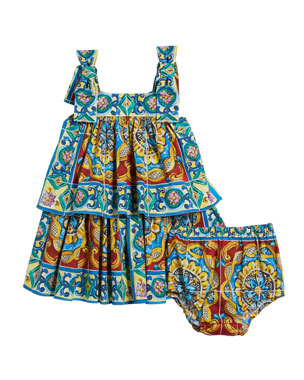 4b6eff2cbd Dolce   Gabbana Sleeveless Maiolica Print Dress w  Matching Bloomers