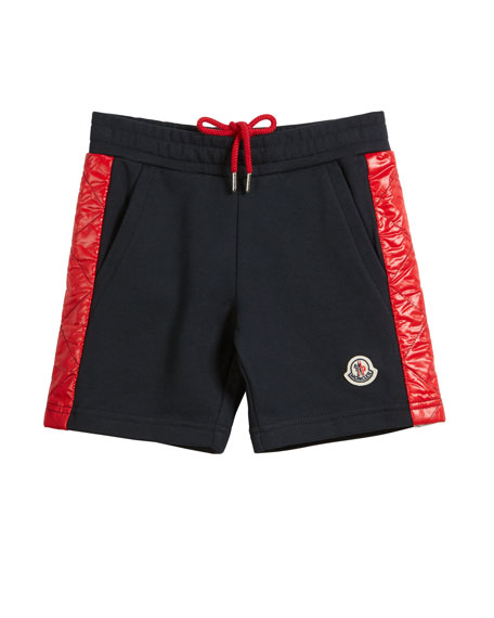 Moncler Cotton Gym Shorts w/ Contrast Quilted Sides, Size 4-6