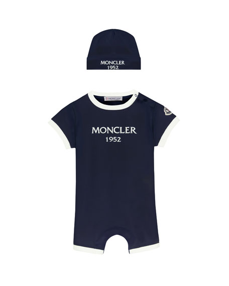 Moncler Two-Tone Logo Shortall w/ Matching Beanie, Size 1-9 Months