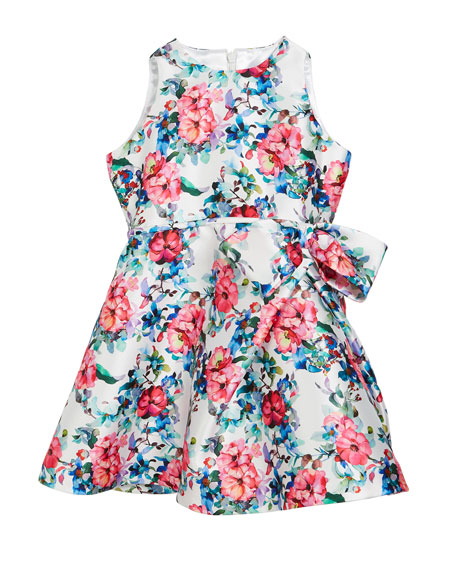 Helena Floral Taffeta Sleeveless Dress, Size 2-6