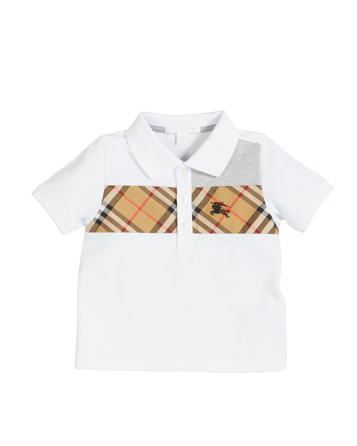 8d2bf372 Burberry Jeff Contrasting Polo w/ Check Chest, Size 6M-2 | Neiman Marcus
