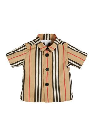 8964b040ed15 Burberry Sammi Icon Stripe Short-Sleeve Collared Shirt