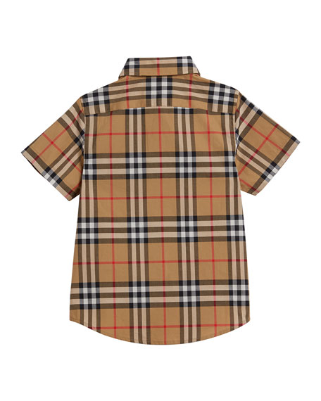 Burberry Fred Short-Sleeve Check Shirt, Size 3-14