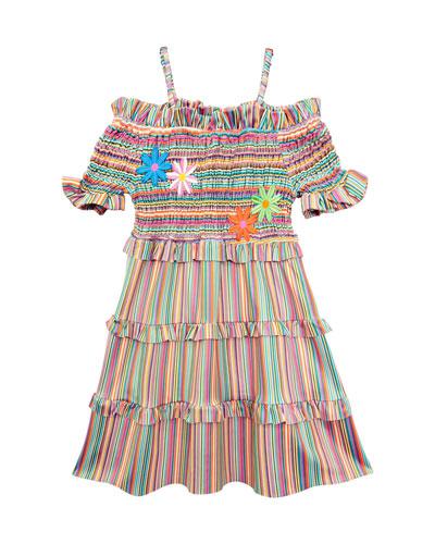 Stripe Smocked Cold-Shoulder Dress  Size 7-14