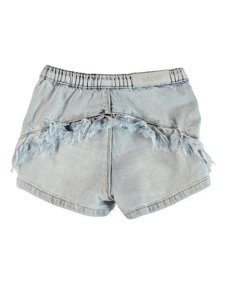 Molo Agnetha Raw Edge Ruffle Trim Denim Shorts, Size 6-14