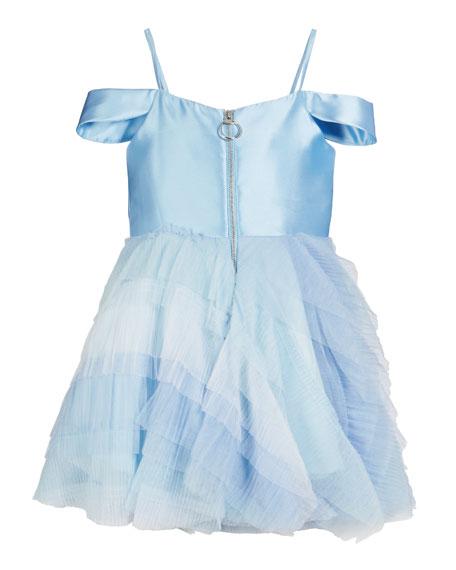 Zoe Matte Sateen & Ombre Mesh Ruffle Dress, Size 7-16