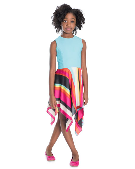 Zoe Bayadere Solid & Stripe Handkerchief Dress, Size 7-16