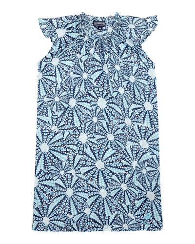 Gappy Ruffle-Sleeve Printed Dress  Size 2-14