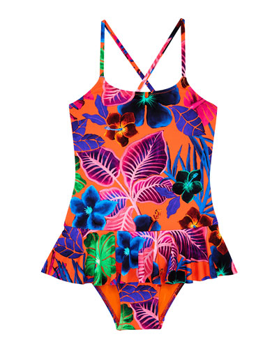 Grilly Palm Leaf One-Piece Swimsuit  Size 2-14