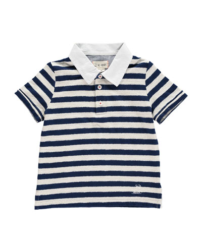 Striped Short-Sleeve Polo Shirt w/ Children's Book  Size 2T-10