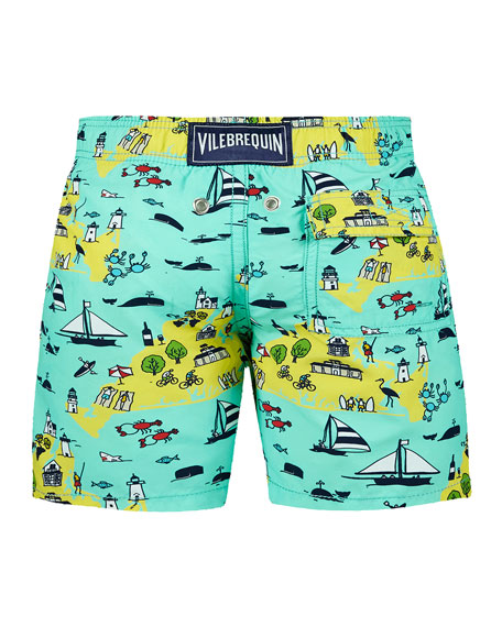 Vilebrequin Jim Beach %26 Ocean Print Swim Trunks, Size 2-14