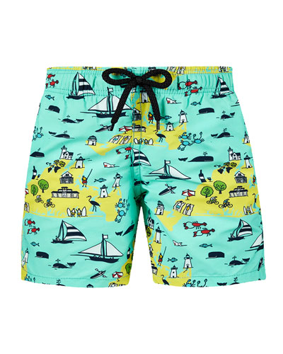 Jim Beach %26 Ocean Print Swim Trunks  Size 2-14