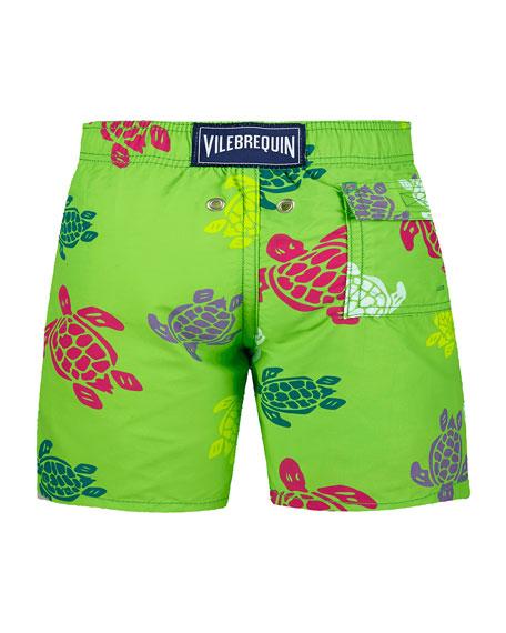 Vilebrequin Jim Sea Turtle Print Swim Trunks, Size 2-14