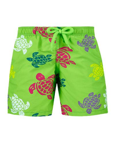 Jim Sea Turtle Print Swim Trunks  Size 2-14