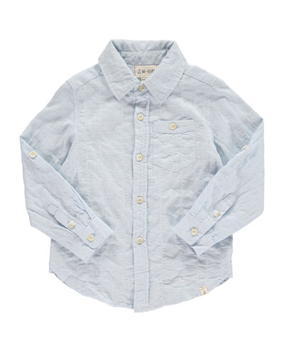 Woven Windowpane Collared Shirt  Size 2T-10