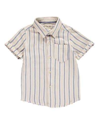 Stripe Woven Collared Shirt w/ Children's Book  Size 2T-10