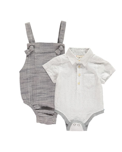 Collared Woven Bodysuit and Romper Overalls w/ Children's Book  Size 0-24 Months
