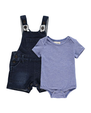 ab47bd50e01 Me   Henry Short-Sleeve Jersey Bodysuit w  Denim Overalls w  Children s Book