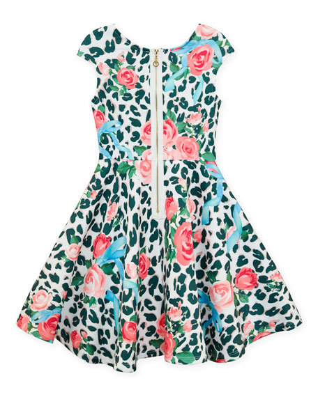 Hannah Banana Neoprene Floral & Leopard Print Dress, Size 4-6X