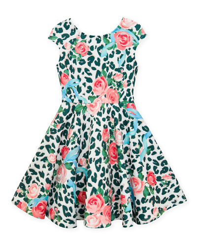 Neoprene Floral & Leopard Print Dress  Size 4-6X