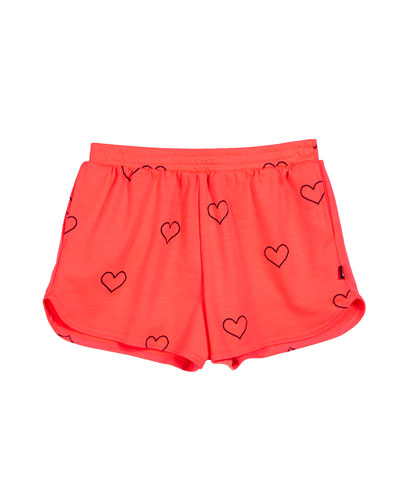 Outline Hearts Foil-Print Shorts  Size 7-16