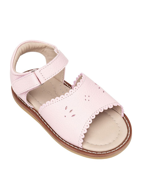 Elephantito Scalloped Leather Sandals, Toddler
