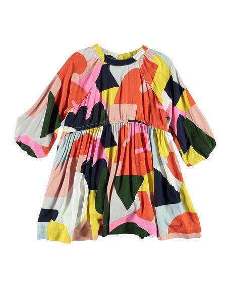 Stella McCartney Twill Colorblock Balloon Sleeve Dress, Size 4-14
