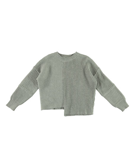 Stella McCartney Asymmetrical Knit Notch Hem Sweater, Size 4-14