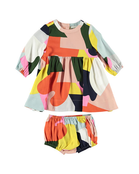 Stella McCartney Twill Colorblock Long-Sleeve Dress w/ Bloomers, Size 6-36 Months