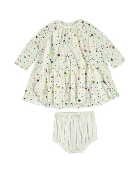 Stella McCartney Foil Dot Long-Sleeve Dress w/ Bloomers, Size 6-36 Months