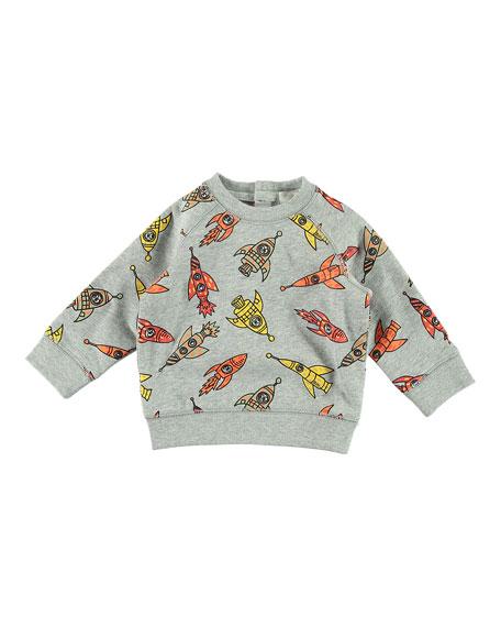 Stella McCartney Rocket Ship-Print Sweatshirt w/ Matching Sweatpants, Size 6-36 Months